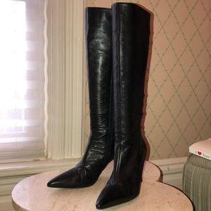 Manolo Blahnik black leather knee high boots.